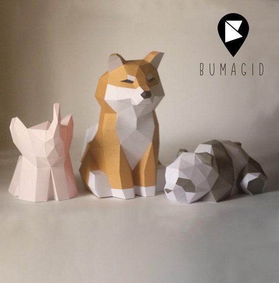 PDF Pattern Elephant 3D Paper Sculpture Papercraft Pepakura