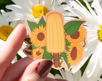 "Sunflower Popsicle   2.5"" Vinyl Sticker   Water Resistant Laptop Sticker Decal Stationery"