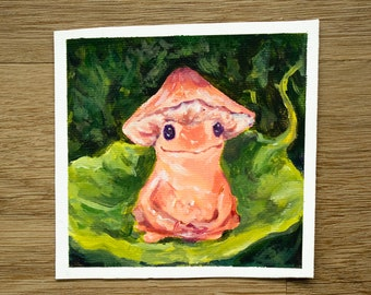 Mushroom Frog Acrylic Painting   4x4 Original Painting on Canvas Paper   Cute Cottagecore Wall Art and Home Decor   Pink Frog Animal Art
