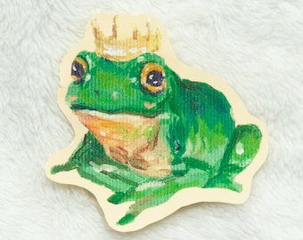 """Frog Prince   2.5"""" Vinyl Sticker   Water Resistant Laptop Decal Stationery   Cottagecore Art"""