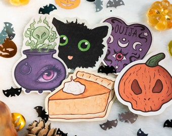 """Halloween Sticker Set   Set of 5   2.5"""" Vinyl Stickers   Cute Halloween Art and Stationary   Water Resistant Laptop Stickers and Stationery"""