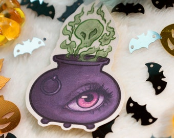 "Witch's Brew Cauldron   2.5"" Vinyl Sticker   Spooky Halloween Sticker Decal Art   Stationery, Laptop Decal, Phone Case Sticker"
