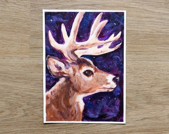 Original Acrylic- Lost in Space   5x7 Acrylic Deer Painting on Canvas Paper   Creatures of the Galaxy Series   Wall Art and Home Decor