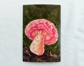 Pink Mushroom Print   Gouache Painting   4x6 Cottagecore Home Decor & Wall Art   Forest Painting Print