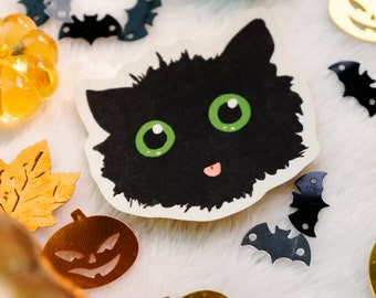 """Cute Black Cat   2"""" Vinyl Sticker   Halloween Cat Decal   Water Resistant Laptop Sticker Stationery   Cute gift for cat lovers and owners"""