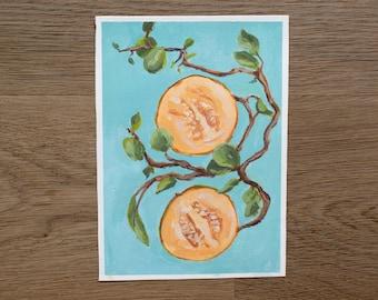 Original Acrylic- Grapefruits   5x7 Original Painting on Canvas Paper   Kitchen Decor and Wall Art   Elegant Home Decor   Fruit Painting