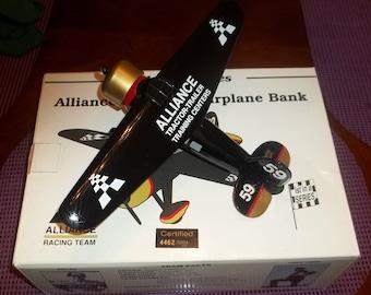 1992 Spec Cast Alliance Racing 1:32 Diecast AIRPLANE Coin Bank 1st in Series Robert Pressley