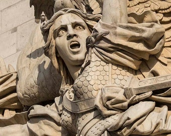 Paris Photography face crazed looking Victory leading to arms revolt fine art print