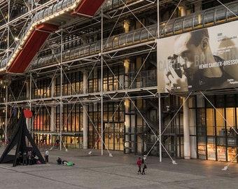 Paris Photography Centre Georges Pompidou, Pompidou Museum Beaubourg Library facade huge poster Henri Cartier-Bresson show fine art print