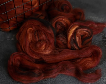Sample Silk merino wool roving / hand combed top / for spinning and felting / burning coals
