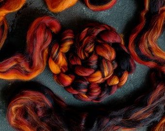 Silk merino wool roving / hand combed top / for spinning and felting / burning coals
