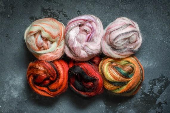 Sample set / felting set merino wool & silk roving / hand combed top / for spinning and felting / Set 11