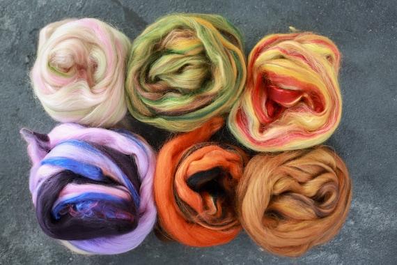 Sample set / felting set merino wool & silk roving / hand combed top / for spinning and felting / Set 6