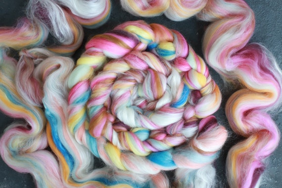 Rainbow merino wool & silk roving / hand combed top / for spinning and felting
