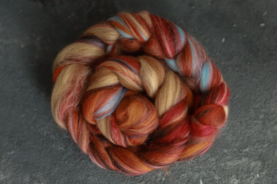 Sample combed top 23 55g /Silk merino wool roving / hand combed top / for spinning and felting /