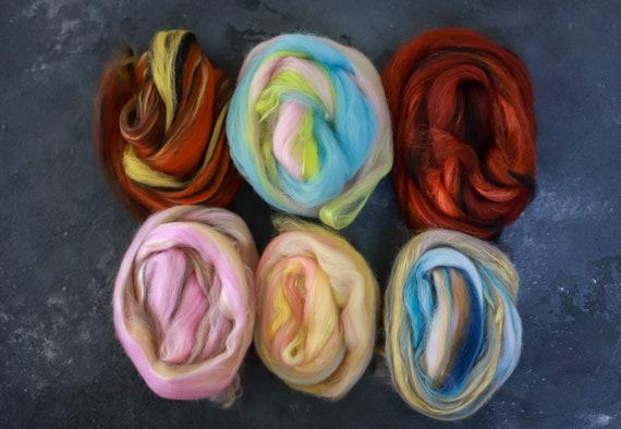 Sample set / felting set merino wool & silk roving / hand combed top / for spinning and felting / Set 2