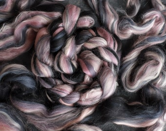Rainbow merino wool & silk roving / hand combed top / for spinning and felting / color 54