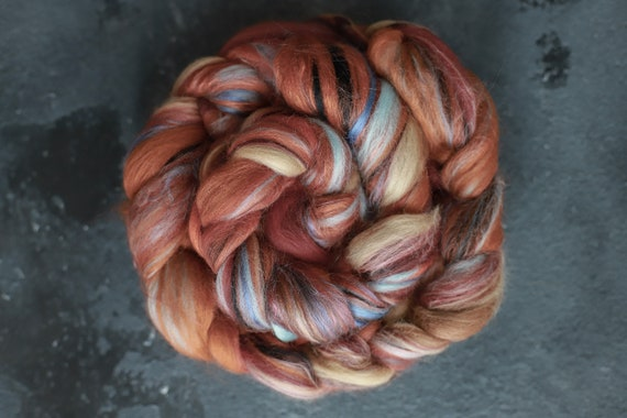Sample combed top 22 100g /Silk merino wool roving / hand combed top / for spinning and felting /