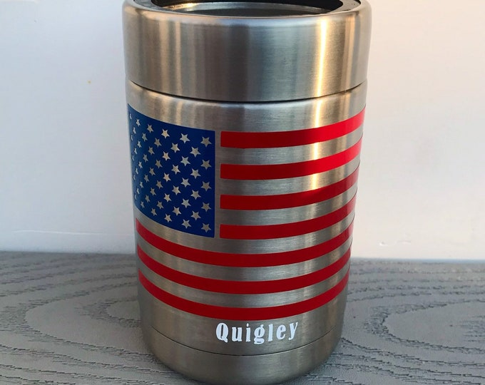 Rtic Stainless Steel Can Cooler w/ American Flag Image
