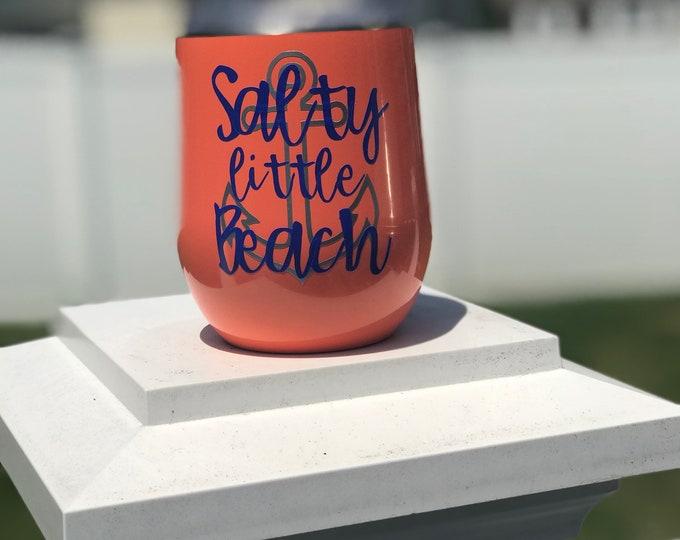 Salty Little Beach Wine Glass