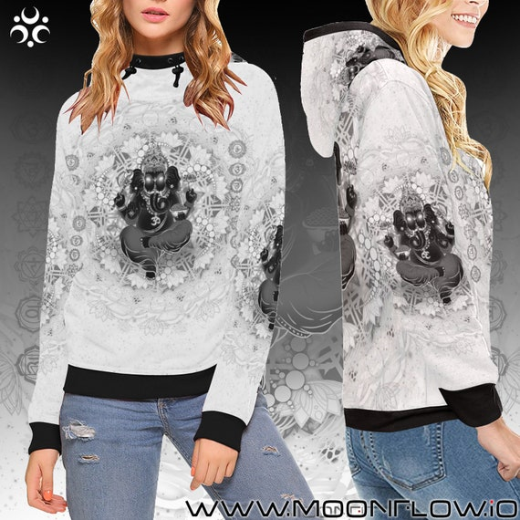 Clothing Clothes Off Yoga GANESH Mindfulness Meditation Spiritual Women Hippie Gift Shirt Hindu Hoodie White Spirituality GANESHA Clothing 0B6pxwE