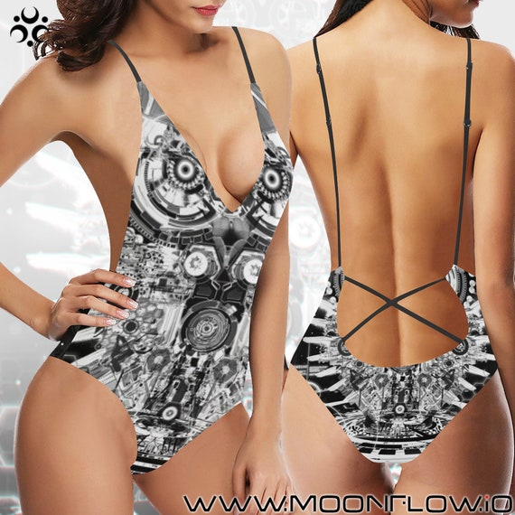 ROBO OWL Laced Backless One Piece Swimsuit