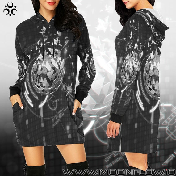 Hood Futuristic Dress Clothing Dress Festival Clothing Costume Outfits Futuristic Wear Rave Rave Futuristic Psychedelic Hoodie Women Women TE0x7n7