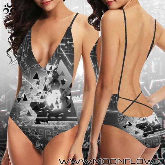 PSYBEAM Laced Backless One Piece Swimsuit
