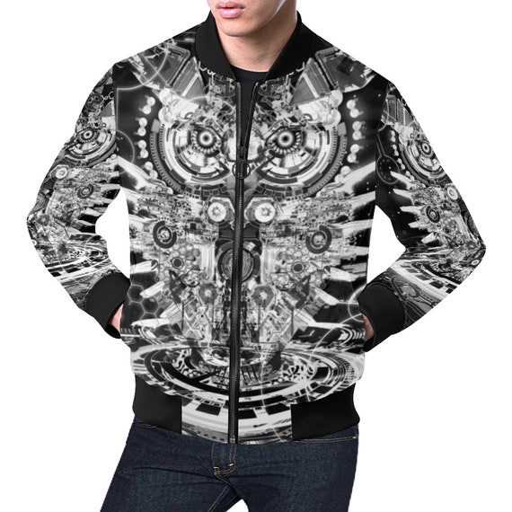 futuristic Robotic psychedelic Owl Jacket Bomber Rq1wv1pzOx