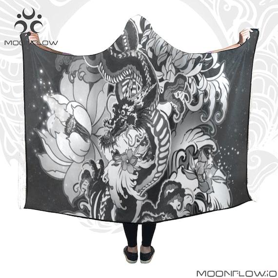 DRAGON MOON Hooded Blanket