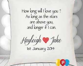 Personalised how long will i love you Cushion Cover • Great Gift
