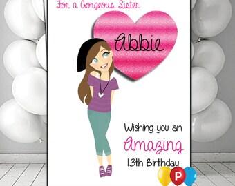 Personalised teenage girl Birthday Card