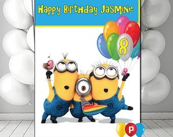 Personalised minions 3 Birthday Card