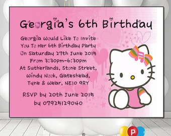 Personalised Hello Kitty Birthday Party Invites A6 Cards Pack Of 12