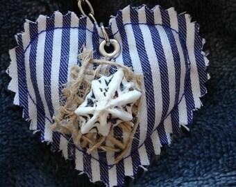 Padded Sea Side style heart keyring