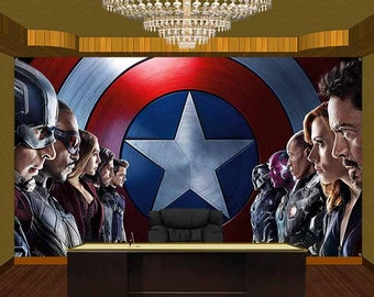 Captain America Civil War Vinyl Banner Wallpaper Backdrop (78 x 118 inch.)
