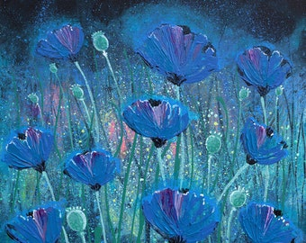 BLUE POPPIES 'Original' Himalayan Poppies acrylic painting on stretched canvas
