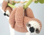 Sloth baby mobile crochet pattern, amigurumi sloth nursery mobile pattern, diy baby mobile