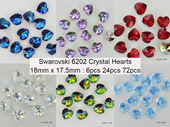TOPAZ AB Swarovski Crystal 6202 Heart Pendants 6 PCS SALE