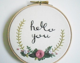 hello you Hand Embroidery Wooden Hoop