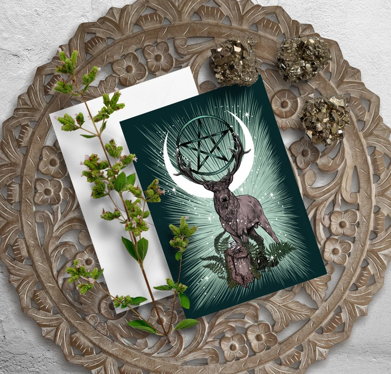 King Stag greeting card forest creature blank art card elk ...