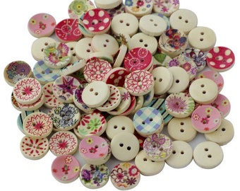 100 vintagewooden buttons