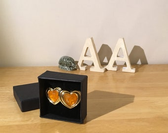 1950s gold and orange clip on heart earrings