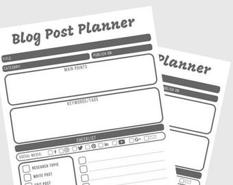 Printable Blog Post Planner, Blog Organizer, Blogging Planner, pdf, planner printable