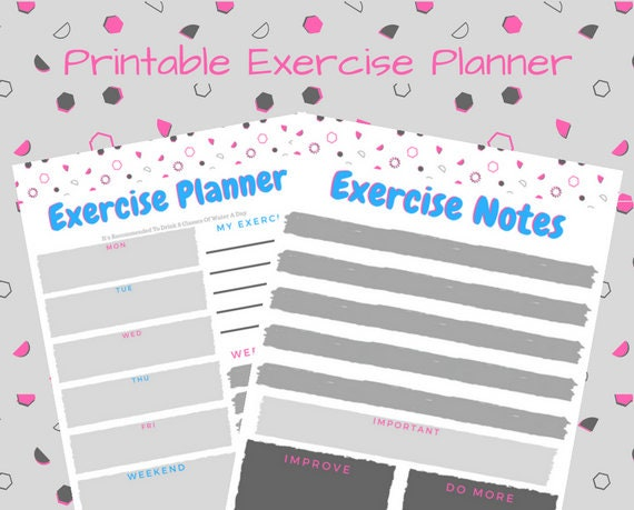 printable exercise planner printable fitness planner etsy