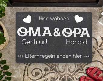 Doormat - Grandma and Grandpa - Parent ingenues end here - with desired names possible