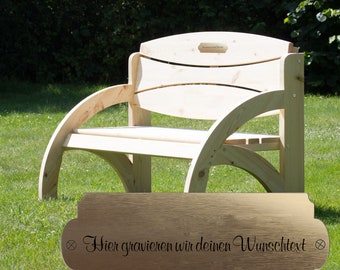 Garden bench made of spruce wood with desired engraving