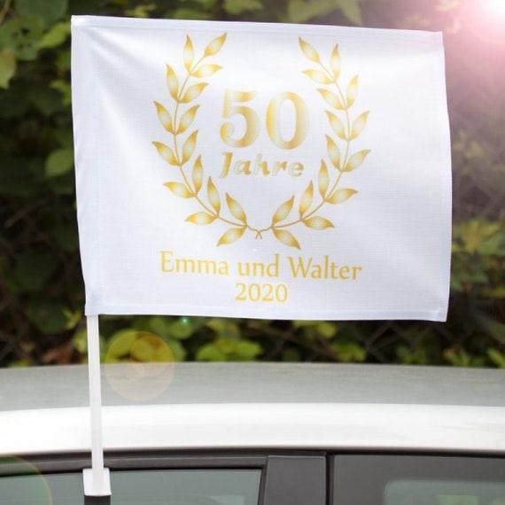 Autofahne Goldene Hochzeit Mit Personalisierung