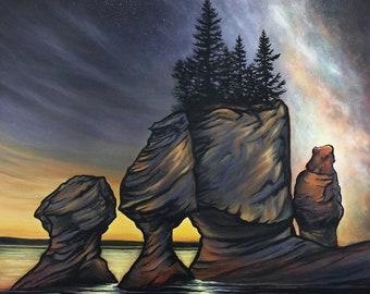 Stargazing - Limited Edition Print, New Brunswick, Bay of Fundy, Milky Way, Flower Pots, Canadian Landscape, Wall Art, Home Decor,