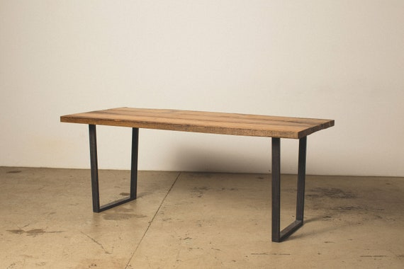 6 foot natural edge Reclaimed Wood Dining table with square steel legs
